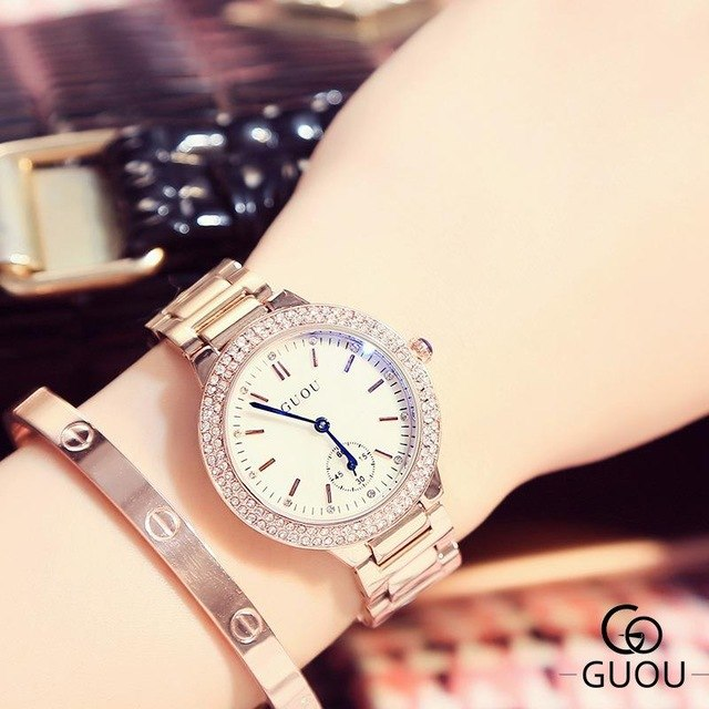 GUOU Luxury Women Watch Rhinestone Crystal Blue Hardlex Dial Lady Dress Wristwatch Clock Bracelet Gift to Girlfriend Wife GU003