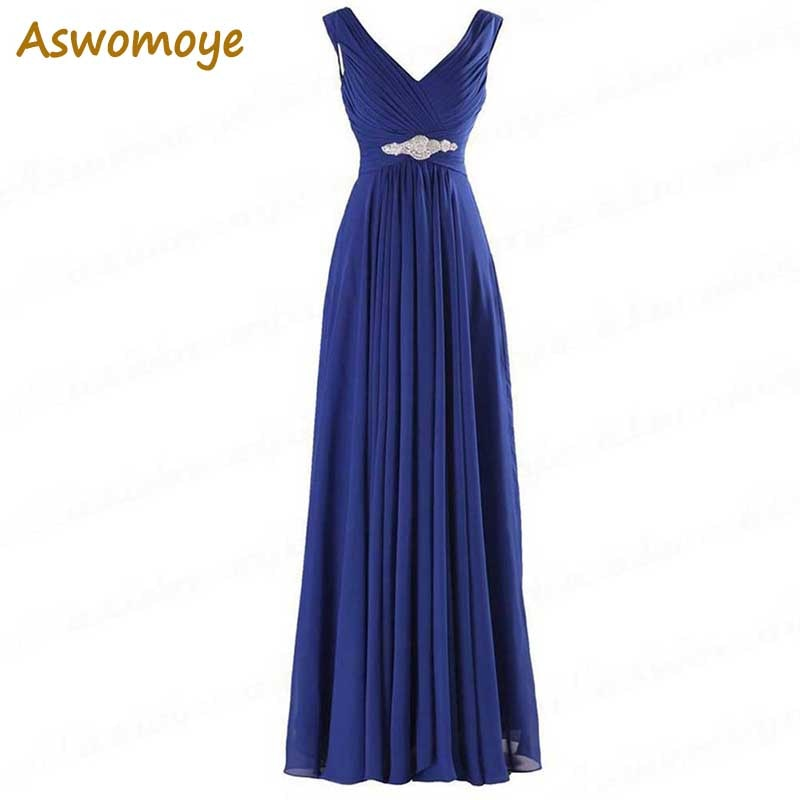 Royal Blue Long Evening Dresses 2018 New Design Elegant Cheap Wedding Party Dress Chiffon Prom Dresses robe de soiree longue