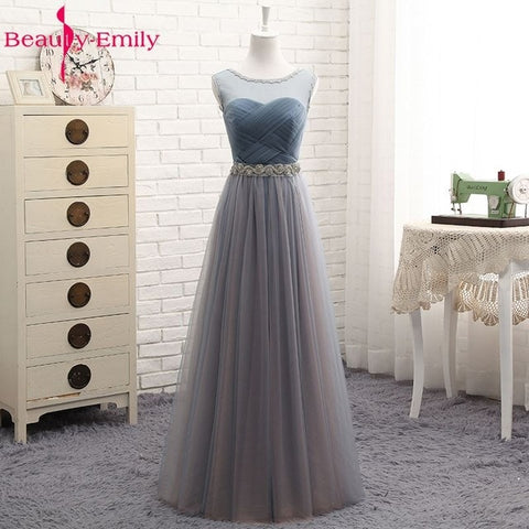Beauty Emily High Quality Tulle Long Short Bridesmaid Dresses 2018 Formal A-line Vintage Party Prom Dresses Off the Shoulder