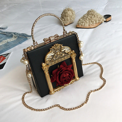 Luxury Fashion 3D Embossed Flowers Women's Party Handbag Shoulder Bag Pearl Chain Purse Ladies Totes Crossbody Messenger Bag