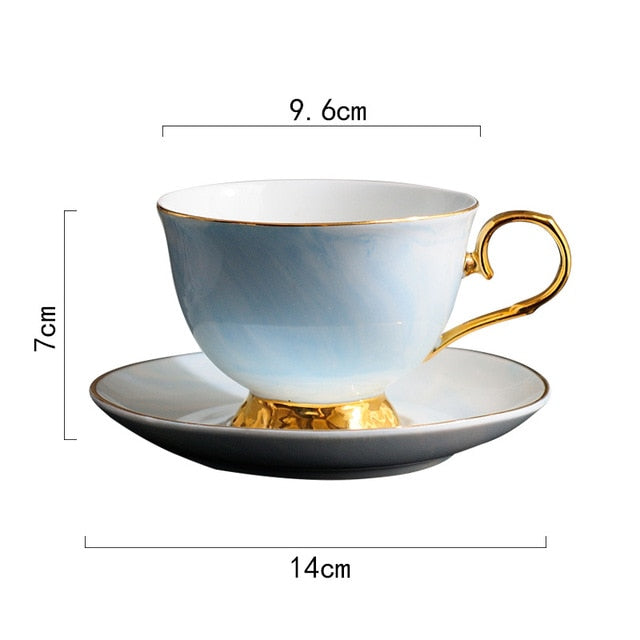 Marble Pattern Ceramic Cup Saucer Set Lovers Cup Saucer Couple Lover's Gift Morning Mug Milk Coffee Tea Breakfast Porcelain Cup
