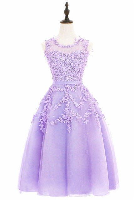 In stock fast ship Short beaded Cocktail Dresses Dusty pink Lace Cheap A-line Tulle Sleeveless Cocktail Party Prom Dress 2018