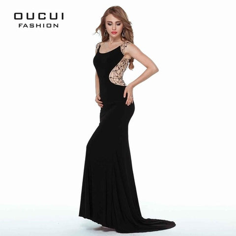 Real Photo Jersey Fabric Beading hand work Formal Long Soiree Evening Dresses Fashion OL102683