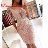 New Arrival 2018 Cocktail Dresses Half Sleeve Lace Applique Beaded Custom made Short Vestido Coctel  Elegant Party Gowns