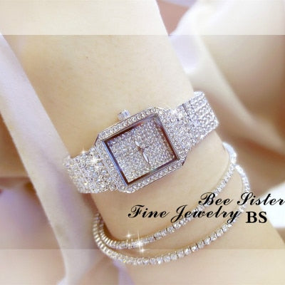 Diamond Luxury Wristwatch Women Quartz Watch Rhinestone Square Stainless Steel Ladies Dress Bracelet Watch With Gift Box