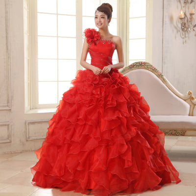 Ladybeauty 2018 New Colorful Organza A line Beading Ruched One Shoulder Wedding Dress Bride Beautiful lacing  Party Dresses