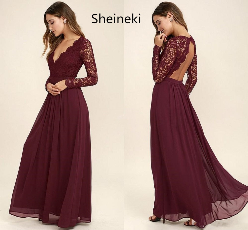Burgundy Chiffon Bridesmaid Dresses Long Sleeves Summer Country Style V-Neck Backless Long Beach Lace Top Wedding Party Dresses