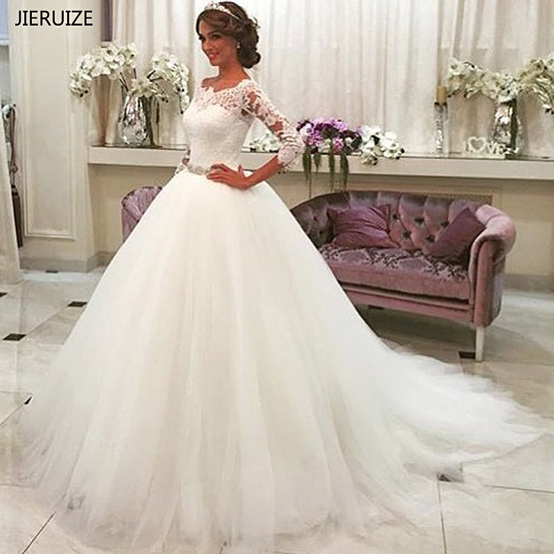 JIERUIZE White Lace Appliques Ball Gown Wedding Dresses 2018 Crystal Sash Button Back Wedding Gowns robe de mariee trouwjurk