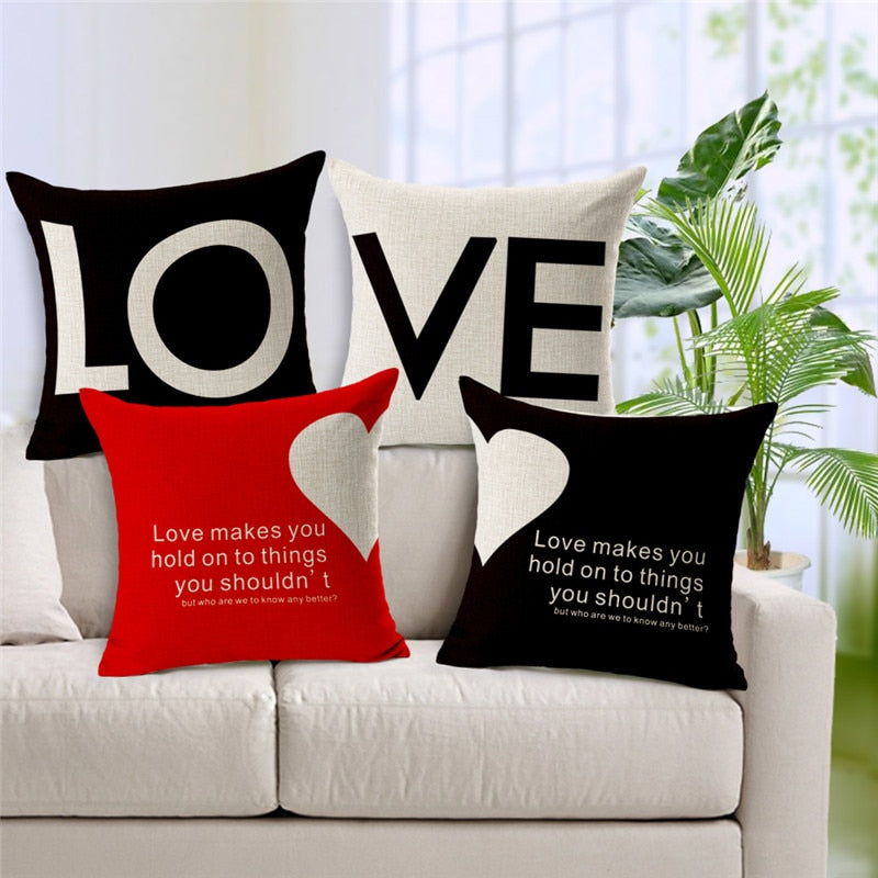 Cotton Linen 45X45cm LOVE Half love Decorative Couples Throw Pillows Cushion Cover For Sofa Home Decor  Funda Cojines