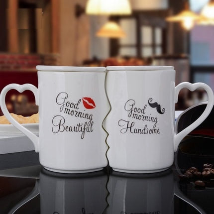OUSSIRRO 2Pcs/Set Couple Cup Ceramic Kiss Mug Valentine's Day Wedding Birthday Gift