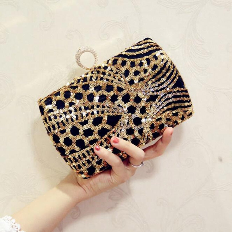 Luxury Crystal Evening Bag Handmade Gold Sequins Rhinestones Women Evening Bags Vintage Satin Lady Party Wedding Clutches Purse
