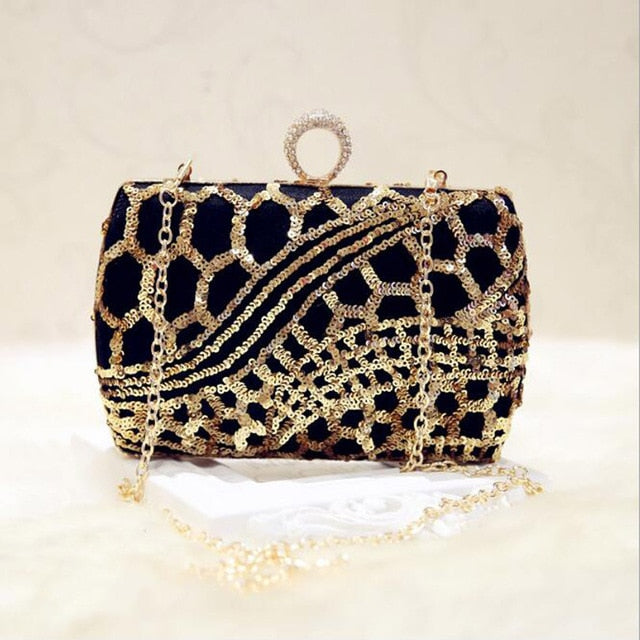 9985d786b315 Luxury Crystal Evening Bag Handmade Gold Sequins Rhinestones Women Evening  Bags Vintage Satin Lady Party Wedding Clutches Purse