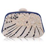 New Style Metallic Hollow Out Crystal Floral Women Evening Clutch Bag Bridal Wedding Rhinestones Knucklebox Purse Handbag