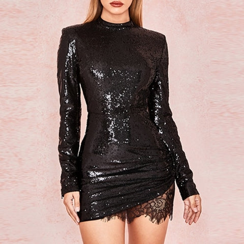 Adyce 2018 New Arrival Women Winter Celebrity Runway Party Dress Black Long Sleeve Sequin Lace Mini Luxury Club Dresses Vestidos