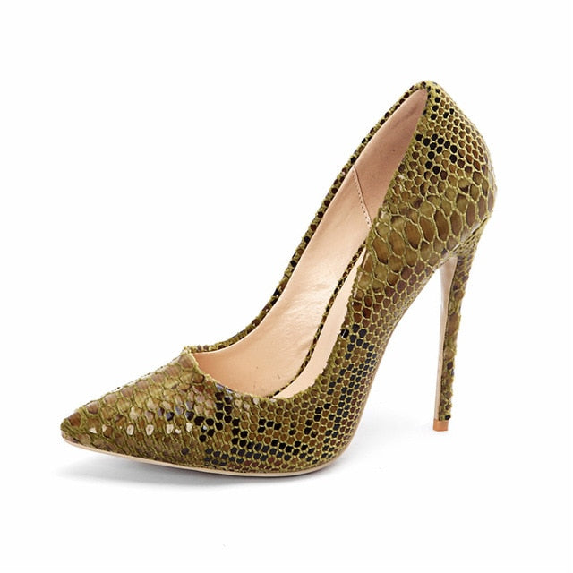 COCOAFOAL High Heels Women's Snake Skin Shoes Sexy Woman Bridal Heel Shoes Plus Size Pointed Toe Wedding Party Pumps Stiletto
