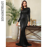 Love&Lemonade Sexy 0-Neck High Waist Elastic Pleated Sequins Fishtail Shape Party Long Dress LM81620 BLACK