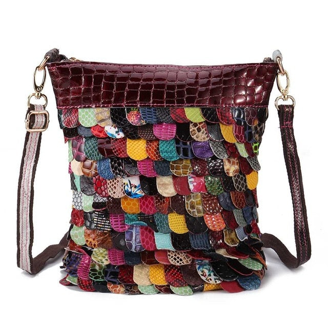 AEQUEEN Luxury Brand Genuine Leather Handbags For Women Floral Shoulder Crossbody Bags Patchwork Purse Totes Bolsos Random Color