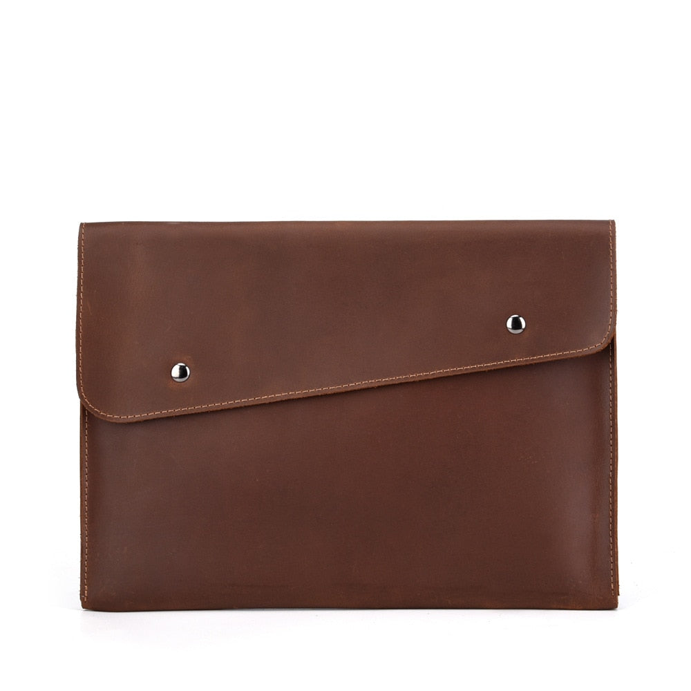man genuine leather multifunction office documents bags A4 paper file pouch envelope bag meeting conference travel handbag