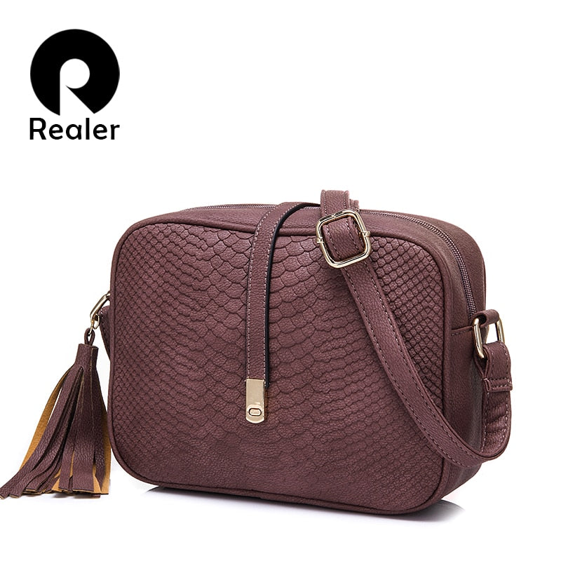REALER brand small shoulder bag for women messenger bags ladies retro PU leather handbag purse with tassels female crossbody bag