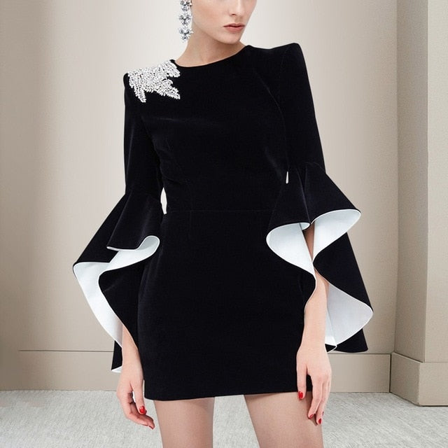 TWOTWINSTYLE Elegant Party Dresses Female Flare Long Sleeve Diamonds Irregular Mini Dress For Women 2018 Autumn Fashion New