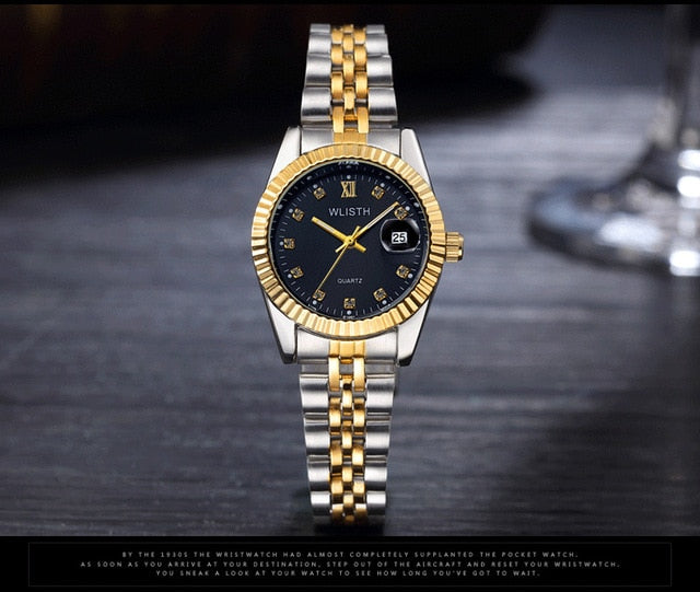 2018 WLISTH Brand Date Waterproof Crystals Men Watch Steel Wrist Watch Business Lover's Dress Gift Watches Montre Homme Reloj
