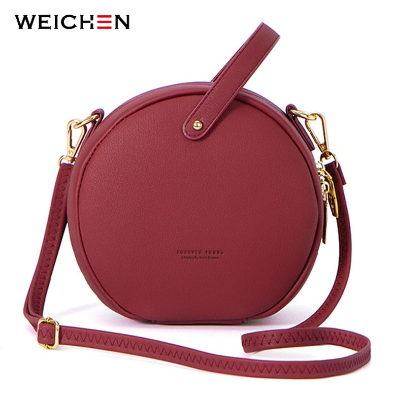 e40f967e2ea8 ... HOT Circular Design Fashion Women Shoulder Bag Leather Women s  Crossbody Messenger Bags Ladies Purse Female Round