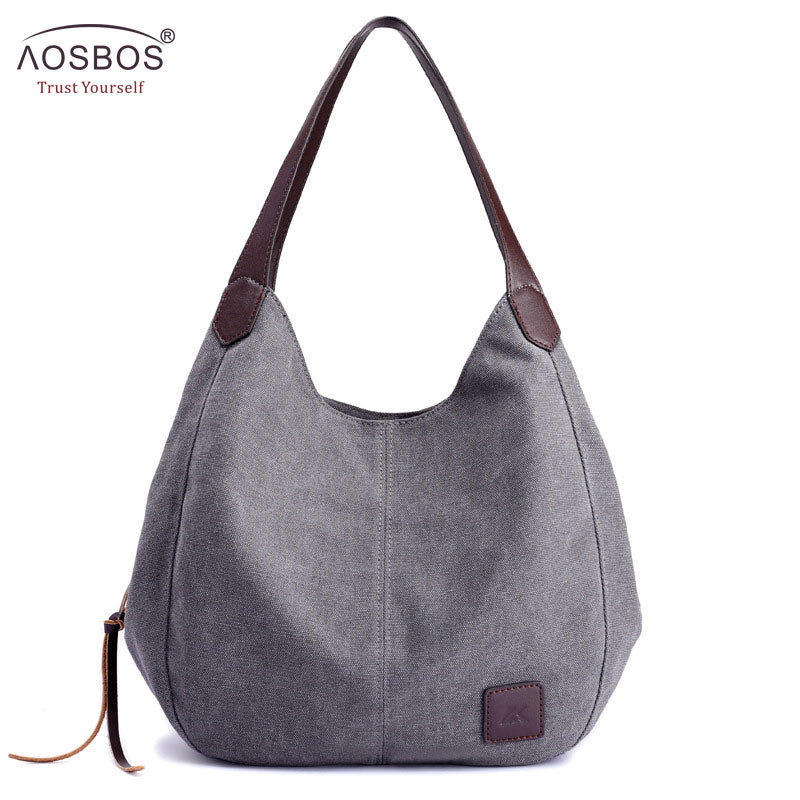 Aosbos 2018 Brand Women's Canvas Handbag High Quality Female Shoulder Bag Vintage Solid Multi-pocket Fashion Ladies Totes Female