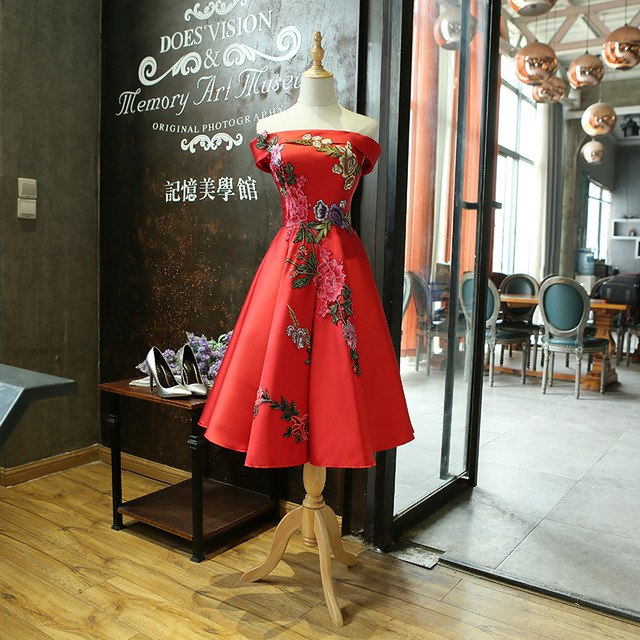 SOCCI Red Cocktail Dress New Boat Neck Tea-length Formal Wedding Party Dresses Bride Women Elegant Banquet Appliques Flower Gown