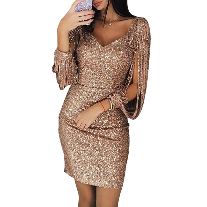 2019 Tassel lantern sleeve sequin dress Women sexy v neck bodycon dresses Summer fashion elegant party dress Sequined vestidos