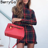 BerryGo Elegant Office lady plaid winter dress 2018 Long sleeve stand collar thick warm tassel dress Fashion slim female vestido