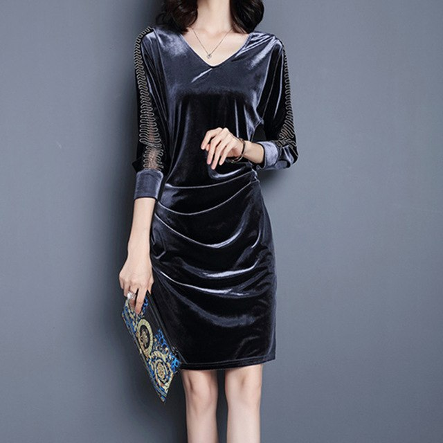 JAPPKBH Long Autumn Winter Dress Women Elegant Vintage Plus Size Velvet Ladies Dresses Sexy Slim Bodycon Party Dress Vestidos