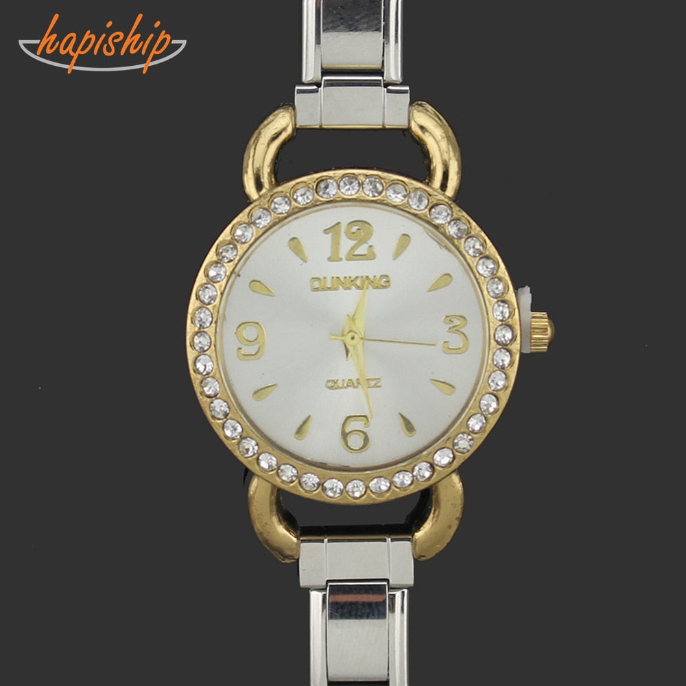 Hapiship 2019 Men Women's Jewelry Silver Stainless Steel 9mm Width Gold Watch Bracelet Bangle For Friend Wife Birthday Gift G019