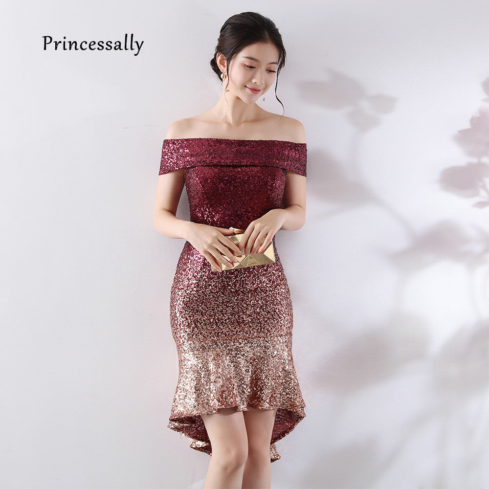 New Burgundy Sequin Cocktail Dress Nermaid Sexy Boat Neck Off The Shoulder Women Short Prom Gown Navy Lady Wedding Party Dresses