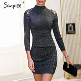 Simplee Sexy knitted autumn short dress women Sequin lace up bodycon christmas dress Vintage evening party dress female vestidos