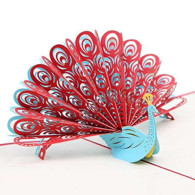 3D Peacock Pop up Birthday Card for Wife Husband Kids Valentine Day Graduation Mother's Day Gift Card Greeting Card (Red)