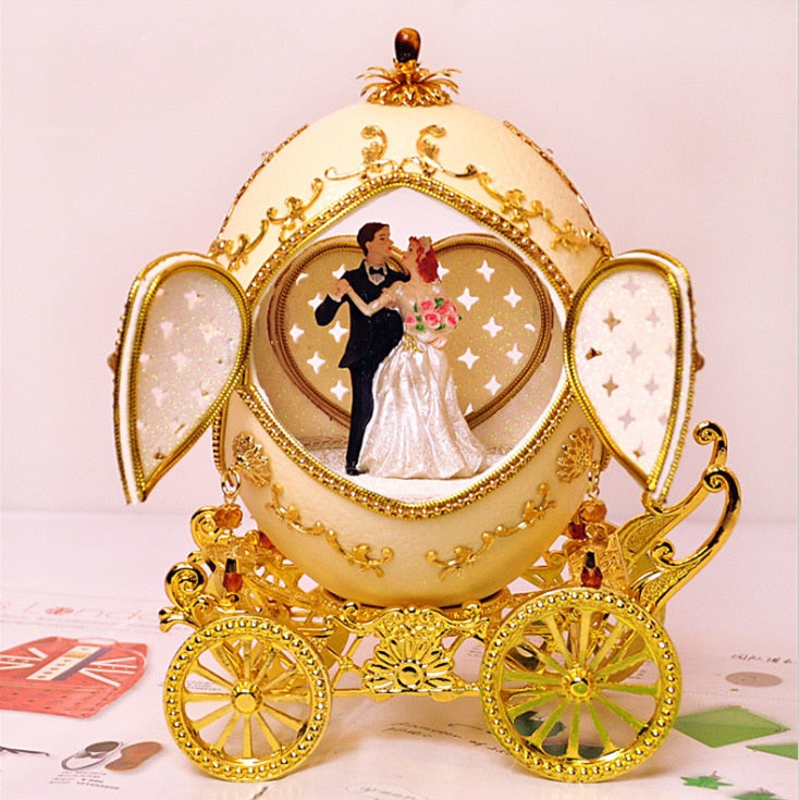 FREE SHIPPING Top quality egg shell carving music box, music box, romantic wedding gift, wife and boyfriend.