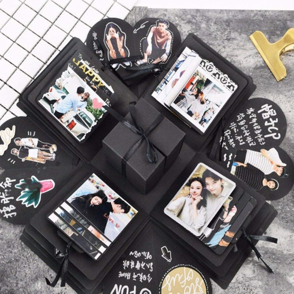 Explosion Box Scrapbook Creative Diy Photo Album Creative Photo Album Wedding Valentine'S Day Birthday Anniversary Gift Black