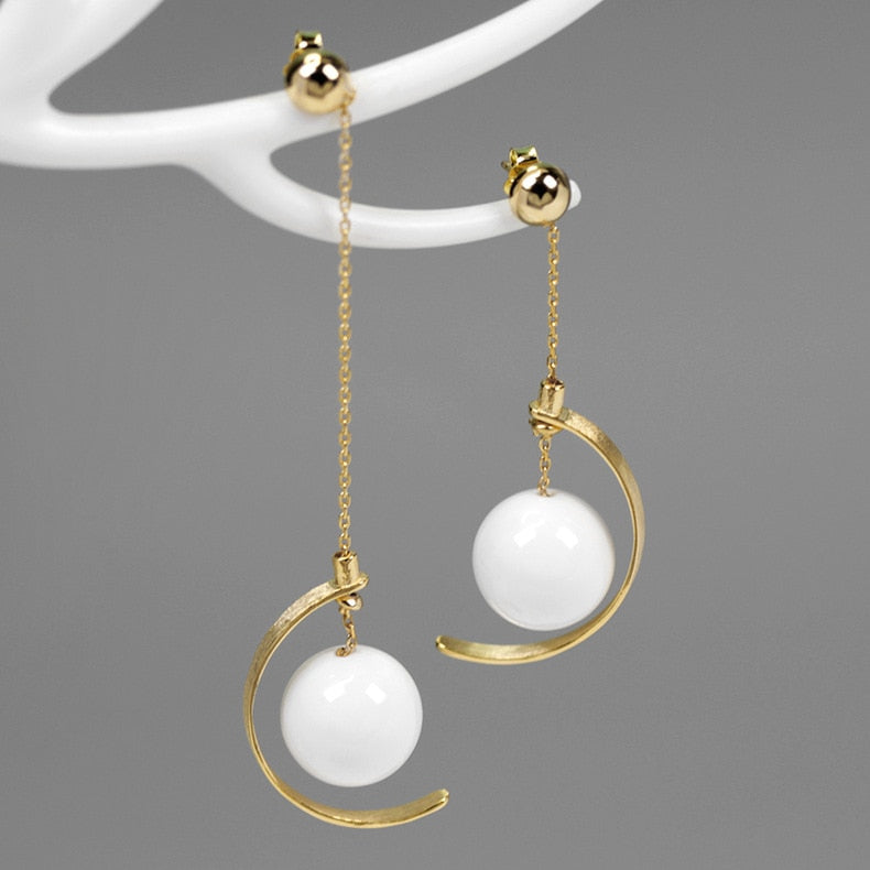 INATURE 925 Sterling Silver Fashion White Ceramic Ball Drop Earrings For Wedding Party Gift