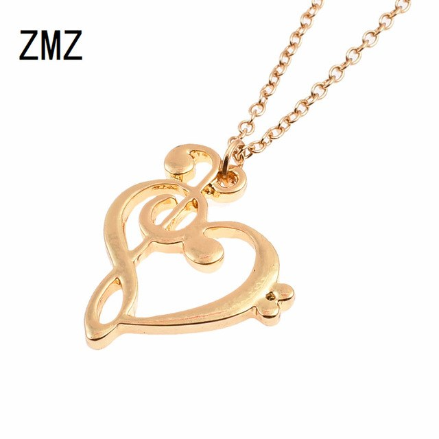 ZMZ 50pcs/lot 2018 Europe/US fashion cute musical note heart shape pendant love heart necklace gift for mom party jewelry