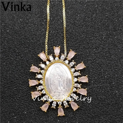 5pieces 2018 New AAA High Quality Irregular Pink Lace Fashion Madonna pendant necklace Jewelry for Women Festival Gift