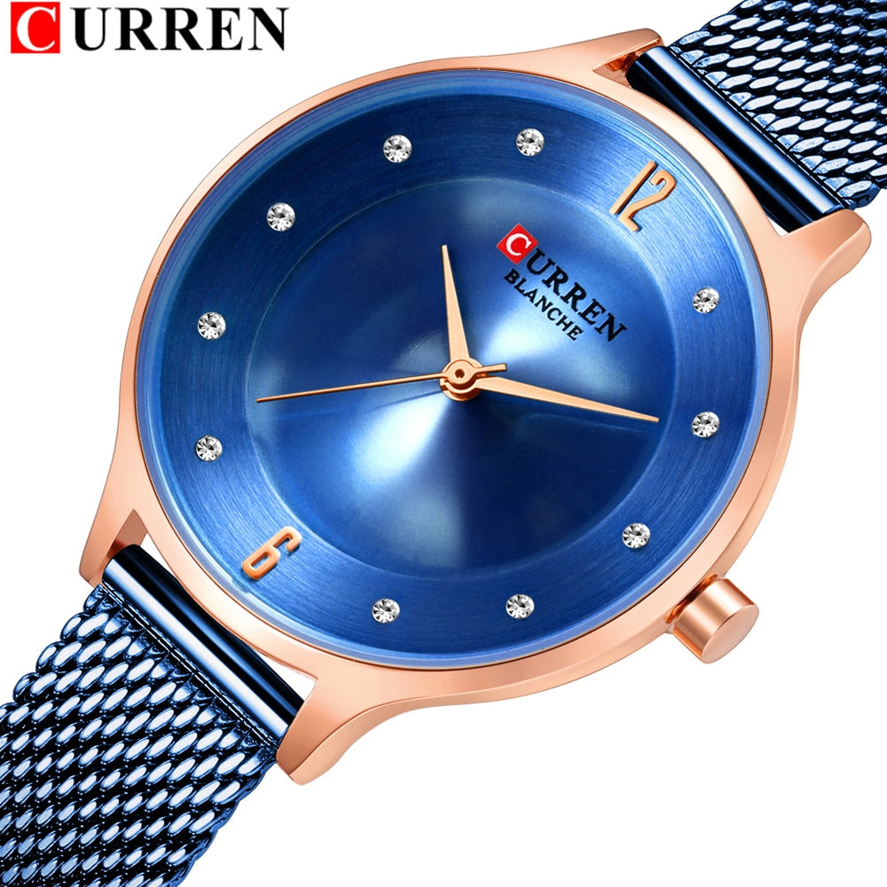 CURREN Wrist Watch Women Fashion Stainless Steel Quartz Watches Bracelet Clock Relogio Feminino 2019 Luxury Ladies Watches