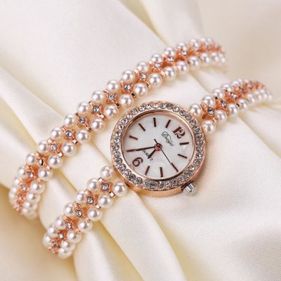 2018 Luxury Quartz Watch Women Gold Pearl Jewelry Steel Bracelet Wristwatch Female Ladies Crystal Fashion Relogio Feminino Saat