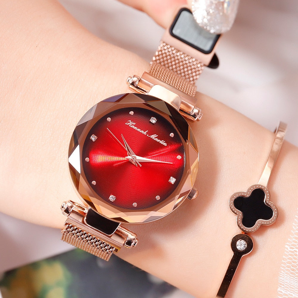 Ladies Jewelry Diamond Watch Luxury Brand Fashion Rose Gold Female Wristwatch Aurora Steel Magnetic Mesh Clock relogio feminino