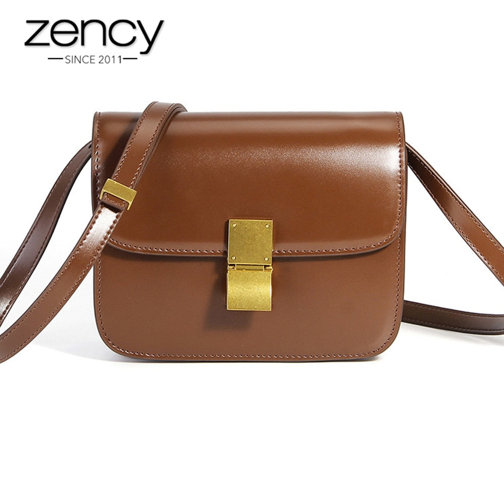 Zency Fashion Brown 100% Genuine Cowhide Leather Handbag Casual Female Messenger Bag Classic Black Super Quality Shoulder Purse