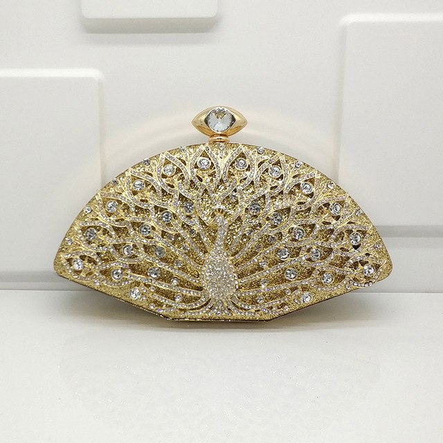 Bridal wedding party purses women evening party bag cross body bag diamonds luxury crystal purses elegant peacock handbag