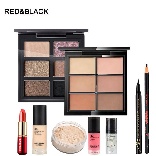 Red&Black Makup Tool Kit Including Matte Eyeshadow Lipstick Foundation Concealer Eyebrow Pencil Eyeliner Makeup Set Cosmetic Kit