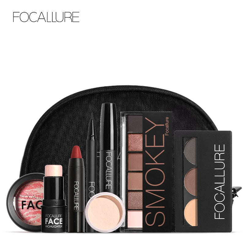 FOCALLURE Makeup Tool Kit Must Have Cosmetics Including Eyeshadow Lipstick Mascara Blush With Makeup Bag Makeup Set 8PCS/SET