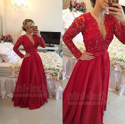 Red Lace Long Sleeve Bridesmaid Dresses