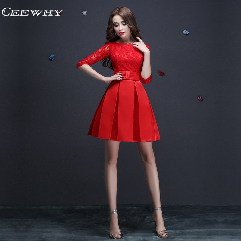 Half Sleeve Embroidery Formal Occasion Dress Short Party Dresses Above Knee Cocktail Dresses Homecoming Dress vestidos de fiesta