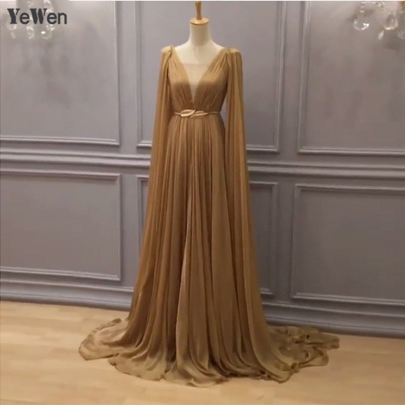 High-eng Luxury Gold Belt Long Sleeve Formal Evening Dress 2018 Tencel robe de soiree Vintage Sexy Prom Bridal Gown Real Photo
